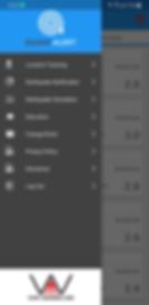 QuakeAlert app hamburger menu options