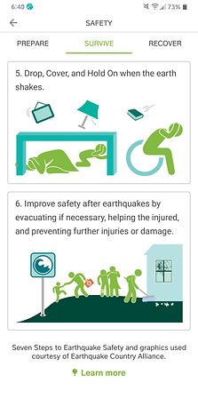 MyShake app safety information for survivng an earthquake