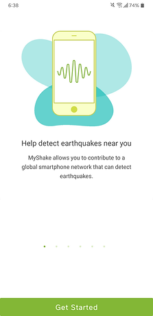 MyShake app onboarding screen about citizen science earthquake detection