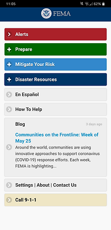 FEMA app homepage