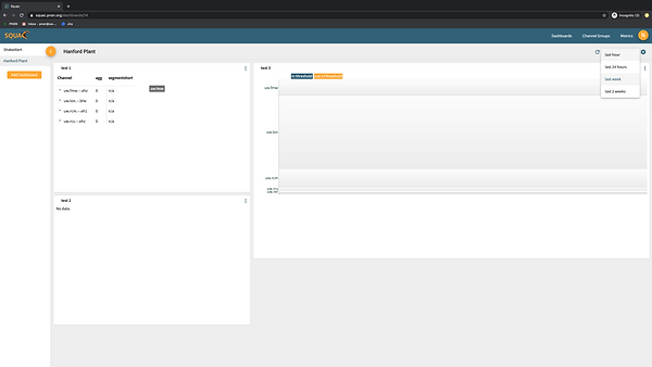 working version - dashboard with 3 different widgets and sidebar open