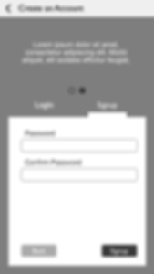 wireframes - create an account