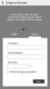 wireframes - create account