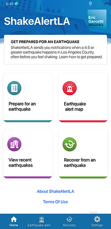 ShakeAlertLA app homepage that contains tile options and bottom navigation