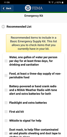 FEMA app recommended emergency kit items list