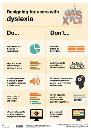 poster - designing for users with dyslexia