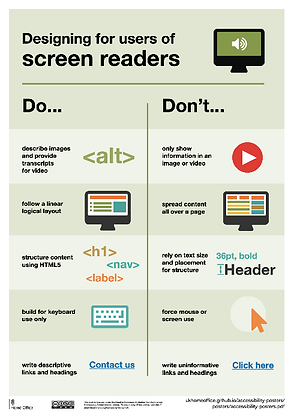 poster - designing for users of screen readers