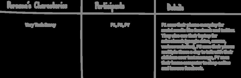 persona development format. Persona's characteristics, participants, details
