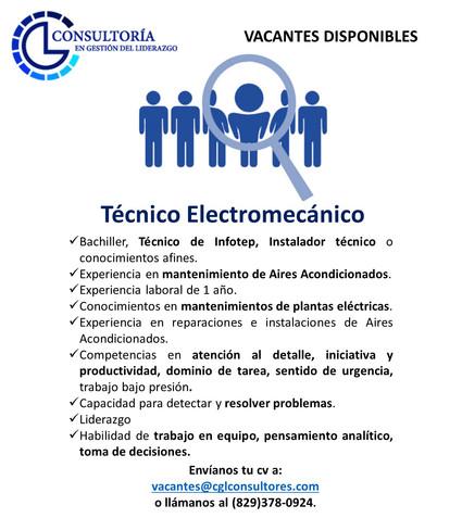 Tecnico Electromecanico PG Contratistas.