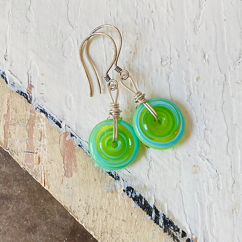 Art Glass Disc Earrings - Turquoise on Green
