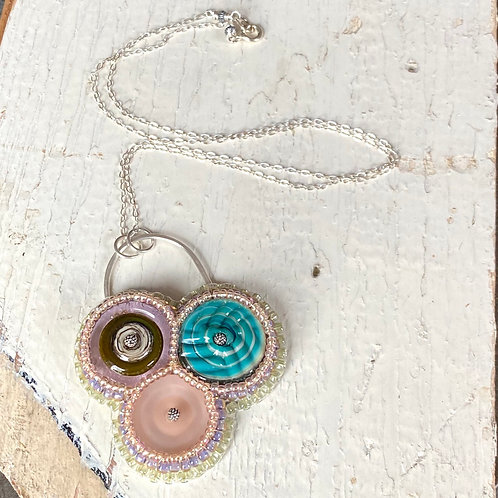 Bead Embroidered Necklace - Trio