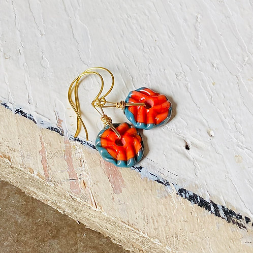 Art Glass and Gold Earrings - Coral Red
