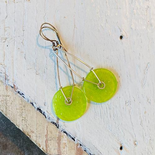 Glass Geometric Earrings - Lime Green