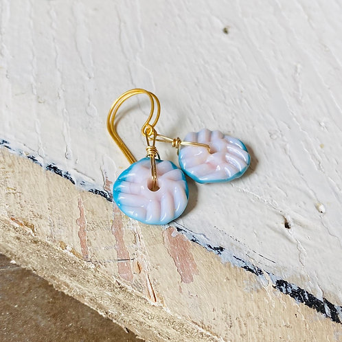Art Glass and Gold Earrings - Hint of Pink