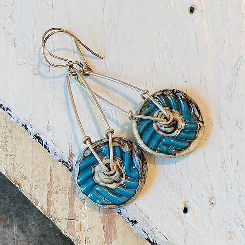 Glass Geometric Earrings - Dark Turquoise