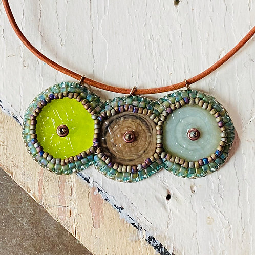 Bead Embroidered Necklace - Neutrals