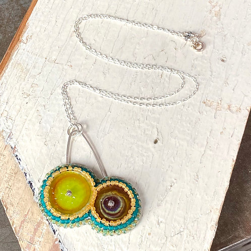 Bead Embroidered Necklace - Earthy Duo