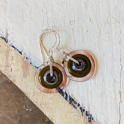 Art Glass Disc Earrings - Dusk