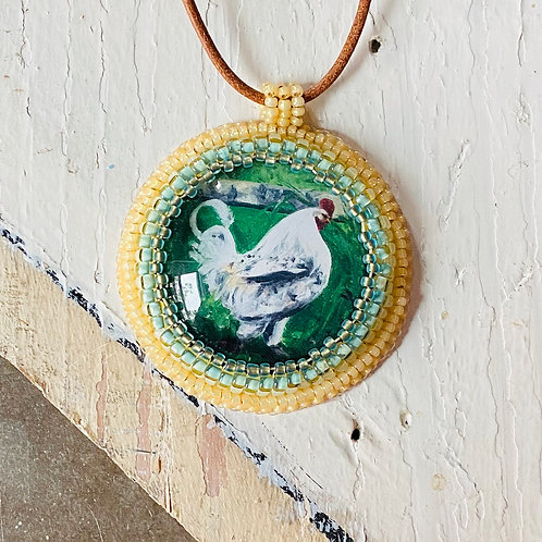 Bead Embroidered Necklace - Rooster