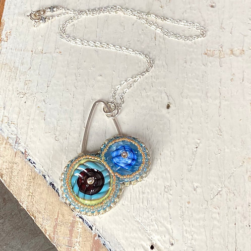 Bead Embroidered - Light Blue Duo