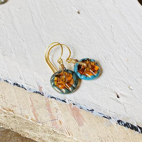 Art Glass and Gold Earrings - Honey