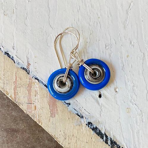 Art Glass Disc Earrings - Blue on Ivory