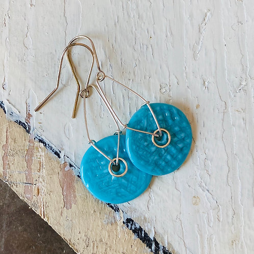 Art Glass Disc Earrings - Turquoise