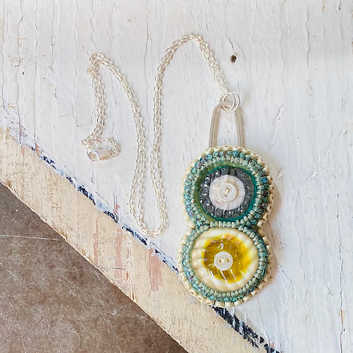 Bead Embroidered - Cream and Blue