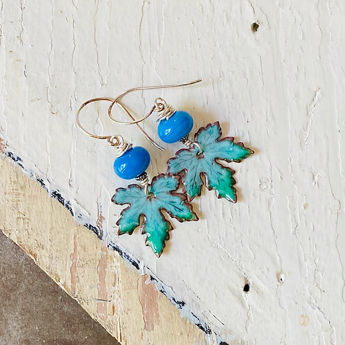 Leaf Earrings - Turquoise and Blue