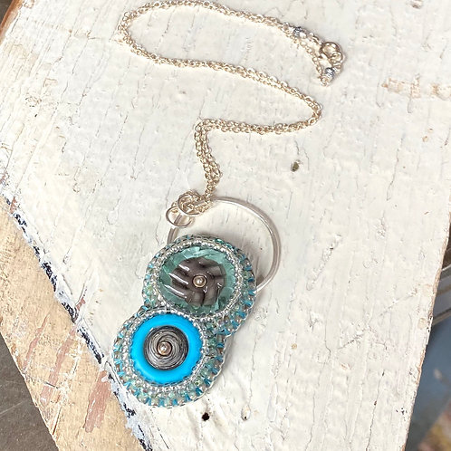Bead Embroidered - Blue Duo