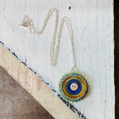 Bead Embroidered - Solo Amber Cobalt