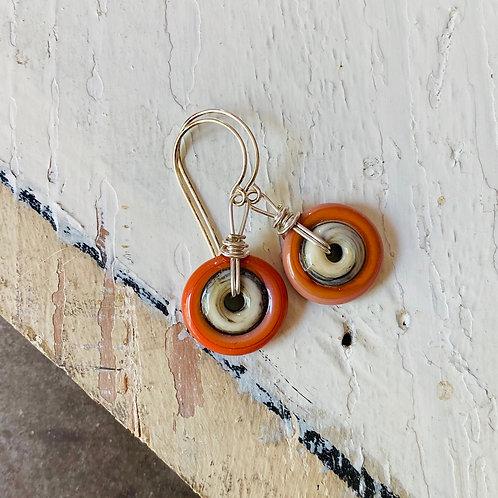 Art Glass Disc Earrings - Orange on Ivory