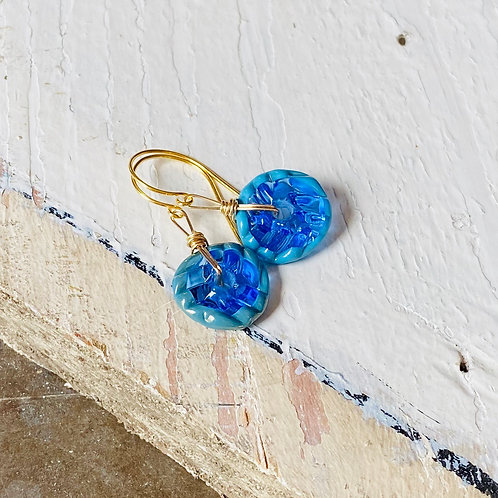 Art Glass and Gold Earrings - Blue