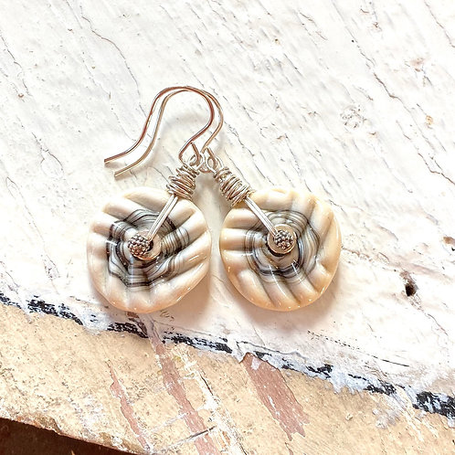 Petit Mini Puff Earrings - Ivory on Sand