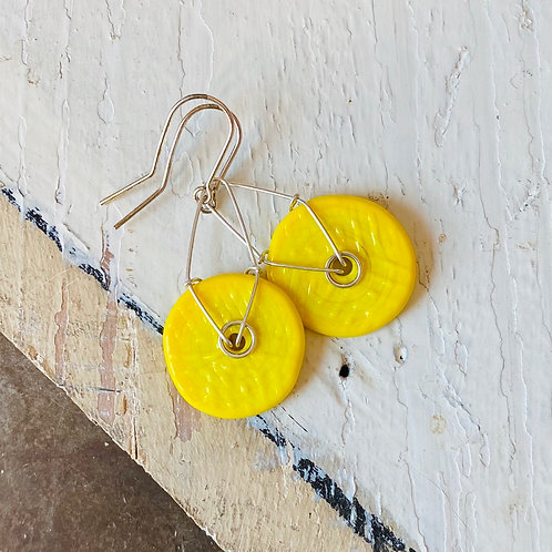 Art Glass Disc Earrings - Yellow
