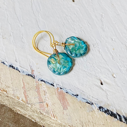 Art Glass and Gold Earrings - Seafoam