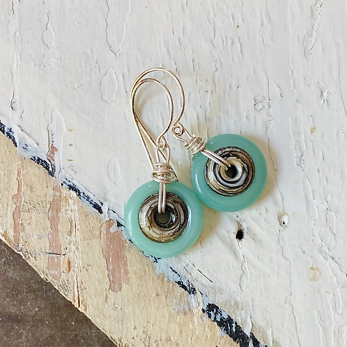 Art Glass Disc Earrings - Mint on Ivory