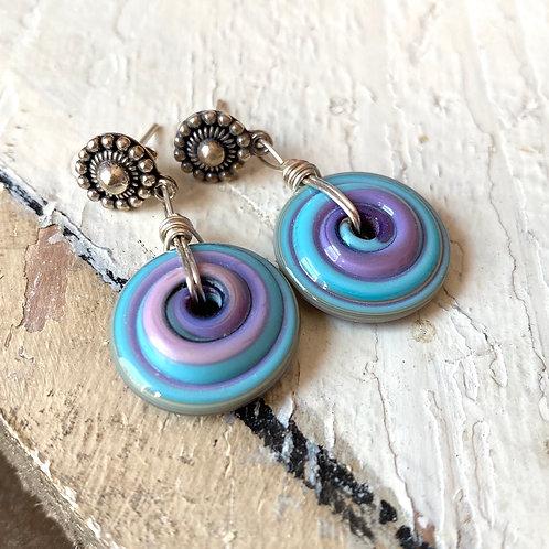 Art Glass Disc Earrings - Turquoise