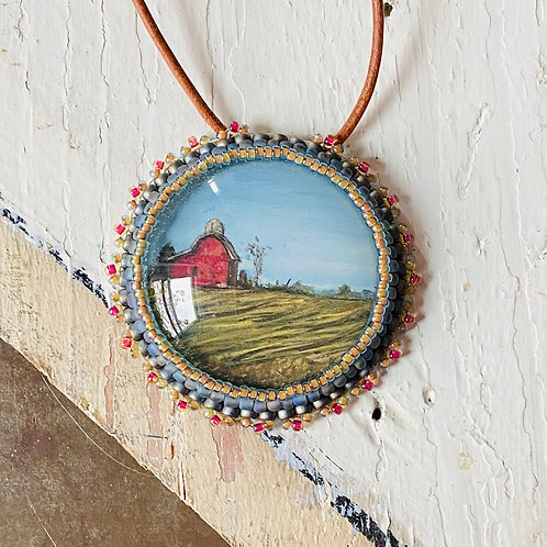 Bead Embroidered Necklace - Red Barn