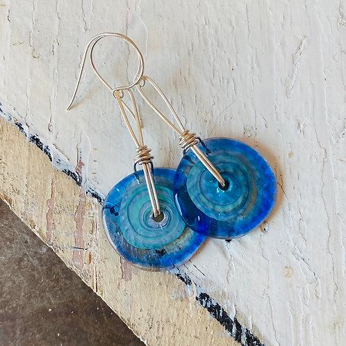 Art Glass Disc Earrings