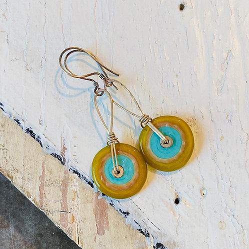 Glass Disc Earrings