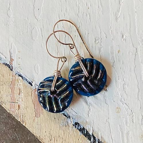 Art Glass Disc Earrings - Cobalt