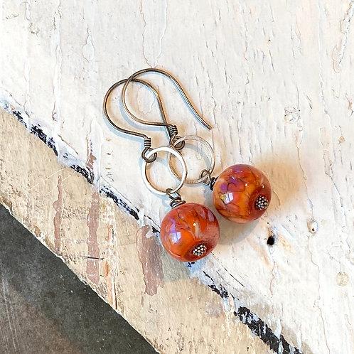 Glass Globe Earrrings - Orange