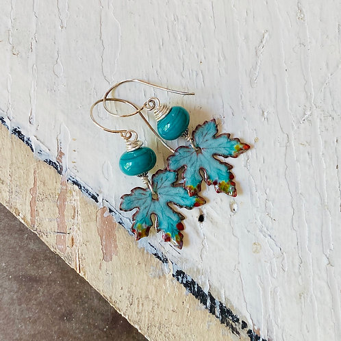 Leaf Earrings - Green and Turquoise