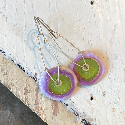 Glass Geometric Earrings - Lilac