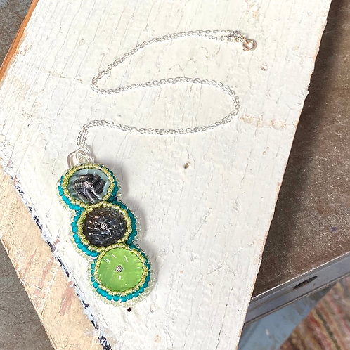 Bead Embroidered - Metallics and Greens