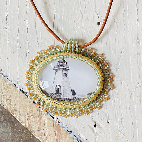 Bead Embroidered Necklace - Lighthouse