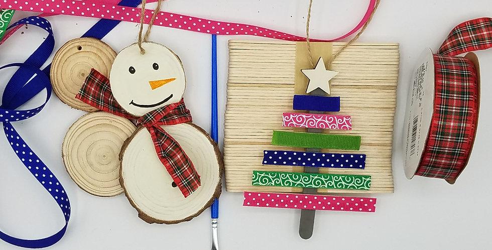 DIY Christmas Ornament Craft Kit, Natural Wood Snowman and Ribbon Tree