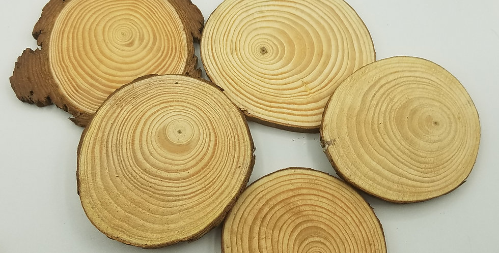 5 Pack Discount Wood Slices  3-4.5 Inches