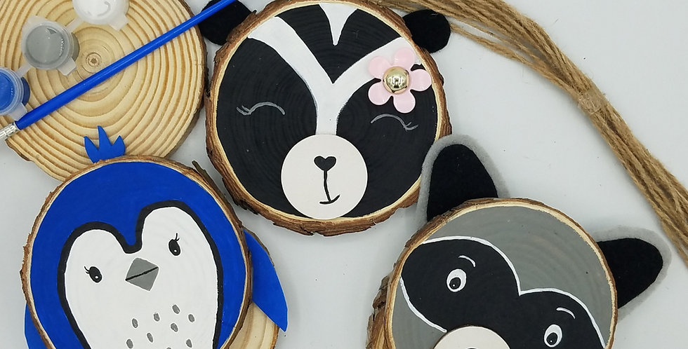 DIY Forest Animal Wood Slice Painting Craft Kit